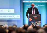 11 January 2020; Uachtarán Chumann Lúthchleas Gael John Horan speaking at the GAA Games Development Conference, in partnership with Sky Sports, which took place in Croke Park on Friday and Saturday. A record attendance of over 800 delegates were present to see over 30 speakers from the world of Gaelic games, sport and education. Photo by Seb Daly/Sportsfile