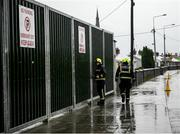 11 January 2020; Members of the Fire Service including Noel Mannion, left, attempt to gain access to the stadium after an alarm was triggered prior to the O'Byrne Cup Semi-Final match between Offaly and Westmeath at Bord na Móna O'Connor Park in Tullamore, Offaly. Photo by Harry Murphy/Sportsfile