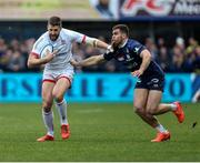 11 January 2020; Stuart McCloskey of Ulster in action against Damian Penaud of Clermont during the Heineken Champions Cup Pool 3 Round 5 match between ASM Clermont Auvergne and Ulster at Stade Marcel-Michelin in Clermont-Ferrand, France. Photo by John Dickson/Sportsfile