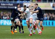 11 January 2020; Stuart McCloskey of Ulster in action is tackled by Arthur Iturria and Damian Penaud of Clermont during the Heineken Champions Cup Pool 3 Round 5 match between ASM Clermont Auvergne and Ulster at Stade Marcel-Michelin in Clermont-Ferrand, France. Photo by John Dickson/Sportsfile