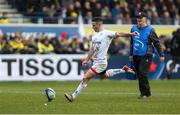 11 January 2020; John Cooney of Ulster converts against Clermont during the Heineken Champions Cup Pool 3 Round 5 match between ASM Clermont Auvergne and Ulster at Stade Marcel-Michelin in Clermont-Ferrand, France. Photo by John Dickson/Sportsfile