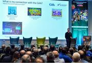 11 January 2020; Dr Darragh Sheridan, High Performance Coaching Manager, High Performance Sport New Zealand, speaking at the GAA Games Development Conference, in partnership with Sky Sports, which took place in Croke Park on Friday and Saturday. A record attendance of over 800 delegates were present to see over 30 speakers from the world of Gaelic games, sport and education. Photo by Seb Daly/Sportsfile