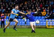 11 January 2020; Iarla O'Sullivan of Longford is tackled by Andy Foley of Dublin during the O'Byrne Cup Semi-Final match between Longford and Dublin at Glennon Brothers Pearse Park in Longford. Photo by Ray McManus/Sportsfile