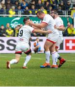 11 January 2020; Jack McGrath congratulates John Cooney after he scored Ulster's first try against Clermont during the Heineken Champions Cup Pool 3 Round 5 match between ASM Clermont Auvergne and Ulster at Stade Marcel-Michelin in Clermont-Ferrand, France. Photo by John Dickson/Sportsfile