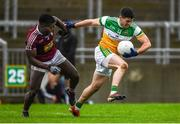 11 January 2020; Bernard Allen of Offaly in action against Boidu Sayeh of Westmeath during the O'Byrne Cup Semi-Final match between Offaly and Westmeath at Bord na Móna O'Connor Park in Tullamore, Offaly. Photo by Harry Murphy/Sportsfile
