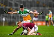 11 January 2020; Ronan Wallace of Westmeath in action against Conor McNamee of Offaly during the O'Byrne Cup Semi-Final match between Offaly and Westmeath at Bord na Móna O'Connor Park in Tullamore, Offaly. Photo by Harry Murphy/Sportsfile