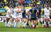 11 January 2020; Billy Burns and Rob Herring of Ulster tussle with Morgan Parra of Clermont Auvergine during the Heineken Champions Cup Pool 3 Round 5 match between ASM Clermont Auvergne and Ulster at Stade Marcel-Michelin in Clermont-Ferrand, France. Photo by John Dickson/Sportsfile