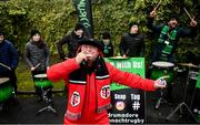 11 January 2020; A Toulouse supporter dances in front of the Connacht drummers prior to the Heineken Champions Cup Pool 5 Round 5 match between Connacht and Toulouse at The Sportsground in Galway. Photo by David Fitzgerald/Sportsfile