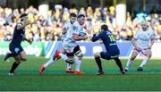 11 January 2020; Marcell Coetzee of Ulster runs at Camille Lopez during the Heineken Champions Cup Pool 3 Round 5 match between ASM Clermont Auvergne and Ulster at Stade Marcel-Michelin in Clermont-Ferrand, France. Photo by John Dickson/Sportsfile