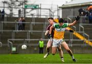 11 January 2020; Jason Dempsey of Offaly in action against Anthony McGivney of Westmeath during the O'Byrne Cup Semi-Final match between Offaly and Westmeath at Bord na Móna O'Connor Park in Tullamore, Offaly. Photo by Harry Murphy/Sportsfile