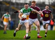 11 January 2020; Jordan Hayes of Offaly in action against Ronan Wallace of Westmeath during the O'Byrne Cup Semi-Final match between Offaly and Westmeath at Bord na Móna O'Connor Park in Tullamore, Offaly. Photo by Harry Murphy/Sportsfile