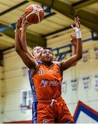 11 January 2020; Christa Reed of Pyrobel Killester in action against Amy Dooley of Ambassador UCC Glanmire during the Hula Hoops Women's Paudie O'Connor National Cup Semi-Final match between Ambassador UCC Glanmire and Pyrobel Killester at Neptune Stadium in Cork. Photo by Brendan Moran/Sportsfile