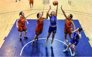 11 January 2020; Amy Dooley of Ambassador UCC Glanmire in action against Leah Rutherford and Michelle Clarke of Pyrobel Killester during the Hula Hoops Women's Paudie O'Connor National Cup Semi-Final match between Ambassador UCC Glanmire and Pyrobel Killester at Neptune Stadium in Cork. Photo by Brendan Moran/Sportsfile