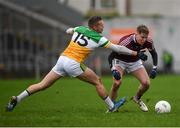 11 January 2020; Conor Slevin of Westmeath in action against Anton Sullivan of Offaly during the O'Byrne Cup Semi-Final match between Offaly and Westmeath at Bord na Móna O'Connor Park in Tullamore, Offaly. Photo by Harry Murphy/Sportsfile