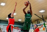 11 January 2020; Trudy Walker of Portlaoise Panthers attempts a shot under pressure from Meabh Barry of Team Tom McCarthy's St Mary's during the Hula Hoops Women's Division One National Cup Semi-Final match between Team Tom McCarthy's St Mary's and Portlaoise Panthers at Parochial Hall in Cork. Photo by Sam Barnes/Sportsfile
