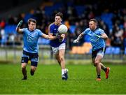 11 January 2020; Rian Brady of Longford is tackled by Niall O'Callaghan, left, and Scott Fulham of Dublin during the O'Byrne Cup Semi-Final match between Longford and Dublin at Glennon Brothers Pearse Park in Longford. Photo by Ray McManus/Sportsfile