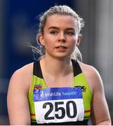 11 January 2020; Molly Scott of St. L. O'Toole A.C. after competing in the Women's 60m during the AAI National Indoor League Round 1 at National Indoor Arena, Sport Ireland Campus in Dublin. Photo by Ben McShane/Sportsfile