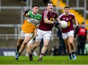 11 January 2020; Lorcan Dolan of Westmeath in action against Ruairi McNamee of Offaly during the O'Byrne Cup Semi-Final match between Offaly and Westmeath at Bord na Móna O'Connor Park in Tullamore, Offaly. Photo by Harry Murphy/Sportsfile