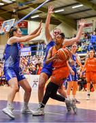 11 January 2020; Adella Randle El of Pyrobel Killester in action against Amy Dooley, left, and Tatum Neubert of Ambassador UCC Glanmire during the Hula Hoops Women's Paudie O'Connor National Cup Semi-Final match between Ambassador UCC Glanmire and Pyrobel Killester at Neptune Stadium in Cork. Photo by Brendan Moran/Sportsfile