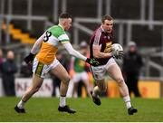11 January 2020; Alan Stone of Westmeath in action against Cian Farrell of Offaly during the O'Byrne Cup Semi-Final match between Offaly and Westmeath at Bord na Móna O'Connor Park in Tullamore, Offaly. Photo by Harry Murphy/Sportsfile