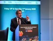 11 January 2020; Prof. Niall Moyna, Health & Human Performance, DCU, speaking at the GAA Games Development Conference, in partnership with Sky Sports, which took place in Croke Park on Friday and Saturday. A record attendance of over 800 delegates were present to see over 30 speakers from the world of Gaelic games, sport and education. Photo by Seb Daly/Sportsfile