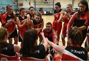 11 January 2020; Team Tom McCarthy's St Mary's coach Liam Culloty gives a time out team talk during the Hula Hoops Women's Division One National Cup Semi-Final match between Team Tom McCarthy's St Mary's and Portlaoise Panthers at Parochial Hall in Cork. Photo by Sam Barnes/Sportsfile