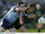 14 December 2003; Paddy Christie, Dublin, in action against Steven Poacher, Underdogs. TG4 Senior Football Challenge, Dublin v Underdogs, Parnell Park, Dublin. Picture credit; David Maher / SPORTSFILE *EDI*