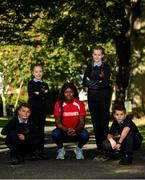 19 September 2019; On hand to help promote the Daily Mile and SPAR Better Choices was Irish international athlete and SPAR ambassador Rhasidat Adeleke with Scoil Mhuire Gan Smál pupils, from left, Stefan Mirt, Mia Davey, Lorna Nolan and Tomas Quilmore. The Daily Mile programme sees primary school children around the country run or jog at their own pace for 15 minutes every day to improve their mental and physical health. Nearly 1,000 schools are taking part in this initiative across the country. To sign up your school log onto https://thedailymile.ie/. For advice on healthy eating and wellbeing for school children log onto https://www.spar.ie/betterchoices/. Photo by Eóin Noonan/Sportsfile