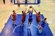 11 January 2020; Amy Dooley of Ambassador UCC Glanmire goes up for a basket despite the efforts of Leah Rutherford and Michelle Clarke of Pyrobel Killester during the Hula Hoops Women's Paudie O'Connor National Cup Semi-Final match between Ambassador UCC Glanmire and Pyrobel Killester at Neptune Stadium in Cork. Photo by Brendan Moran/Sportsfile