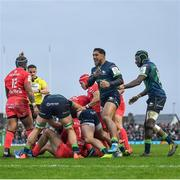 11 January 2020; Bundee Aki of Connacht celebrates a turnover during the Heineken Champions Cup Pool 5 Round 5 match between Connacht and Toulouse at The Sportsground in Galway. Photo by David Fitzgerald/Sportsfile