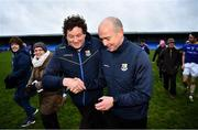 11 January 2020; Longford manager Padraic Davis is congratulated by County Board Chairman Albert Cooney after the O'Byrne Cup Semi-Final match between Longford and Dublin at Glennon Brothers Pearse Park in Longford. Photo by Ray McManus/Sportsfile