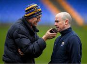 11 January 2020; Shannonside Commentator John Duffy interviews Longford manager Padraic Davis after the O'Byrne Cup Semi-Final match between Longford and Dublin at Glennon Brothers Pearse Park in Longford. Photo by Ray McManus/Sportsfile