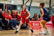 11 January 2020; Lauren Darcy of Templeogue in action against Erin Maguire of UU Tigers during the Hula Hoops U20 Women's National Cup Semi-Finall match between Templeogue BC and UU Tigers at Parochial Hall in Cork. Photo by Sam Barnes/Sportsfile