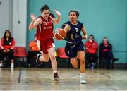 11 January 2020; Erin Maguire of UU Tigers in action against Kaitlynn Miley of Templeogue during the Hula Hoops U20 Women's National Cup Semi-Finall match between Templeogue BC and UU Tigers at Parochial Hall in Cork. Photo by Sam Barnes/Sportsfile