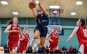 11 January 2020; Erin Maguire of UU Tigers goes for a lay up during the Hula Hoops U20 Women's National Cup Semi-Finall match between Templeogue BC and UU Tigers at Parochial Hall in Cork. Photo by Sam Barnes/Sportsfile