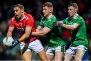 11 January 2020; Ciarán Sheehan of Cork in action against Limerick's Tony McCarthy and Robert Childs, right, during the McGrath Cup Final match between Cork and Limerick at LIT Gaelic Grounds in Limerick. Photo by Piaras Ó Mídheach/Sportsfile