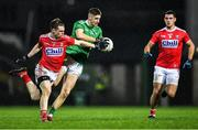 11 January 2020; Danny Neville of Limerick in action against Cian Kiely, left, and Thomas Clancy of Cork during the McGrath Cup Final match between Cork and Limerick at LIT Gaelic Grounds in Limerick. Photo by Piaras Ó Mídheach/Sportsfile