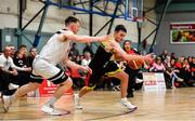 11 January 2020; Jordan Fallon of IT Carlow in action against Jack O'Mahony of Fr Mathews during the Hula Hoops Presidents National Cup Semi-Final match between IT Carlow Basketball and Fr Mathews at Parochial Hall in Cork. Photo by Sam Barnes/Sportsfile