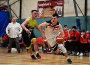 11 January 2020; Owen Connolly of Fr Mathews  in action against Aaron Whelan of IT Carlow during the Hula Hoops Men's Presidents National Cup Semi-Final match between IT Carlow Basketball and Fr Mathews at Parochial Hall in Cork. Photo by Sam Barnes/Sportsfile
