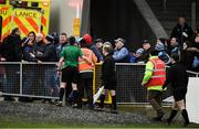 11 January 2020; Referee Alan Coyne, in green, leaves the field after the O'Byrne Cup Semi-Final match between Longford and Dublin at Glennon Brothers Pearse Park in Longford. Photo by Ray McManus/Sportsfile