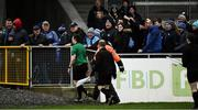 11 January 2020; Referee Alan Coyne, left, leaves the field after the O'Byrne Cup Semi-Final match between Longford and Dublin at Glennon Brothers Pearse Park in Longford. Photo by Ray McManus/Sportsfile