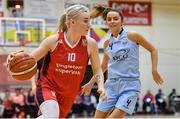 11 January 2020; Greta Tamasanskaite of Singleton Supervalu Brunell in action against Megan Connolly of DCU Mercy during the Hula Hoops Women's Paudie O'Connor National Cup Semi-Final match between DCU Mercy and Singleton Supervalu Brunell at Neptune Stadium in Cork. Photo by Brendan Moran/Sportsfile