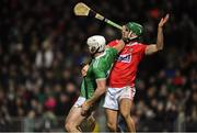 11 January 2020; Aaron Gillane of Limerick and Eoin Cadogan of Cork in a tangle as they await the ball during the Co-Op Superstores Munster Hurling League Final match between Limerick and Cork at LIT Gaelic Grounds in Limerick. Photo by Piaras Ó Mídheach/Sportsfile