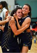 11 January 2020; Eimile Rogers Duffy, left, and Erin Maguire of UU Tigers celebrate following the Hula Hoops U20 Women's National Cup Semi-Finall match between Templeogue BC and UU Tigers at Parochial Hall in Cork. Photo by Sam Barnes/Sportsfile
