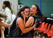 11 January 2020; Eimile Rogers Duffy, left, and Erin Maguire, both of UU Tigers celebrate following the Hula Hoops U20 Women's National Cup Semi-Finall match between Templeogue BC and UU Tigers at Parochial Hall in Cork. Photo by Sam Barnes/Sportsfile