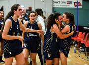 11 January 2020; Eimile Rogers Duffy, second from right, and Erin Maguire, right, both of UU Tigers celebrate with team-mates following the Hula Hoops U20 Women's National Cup Semi-Finall match between Templeogue BC and UU Tigers at Parochial Hall in Cork. Photo by Sam Barnes/Sportsfile