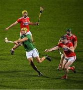 11 January 2020; Dan Morrissey of Limerick in action against Cork players, from left, Seán Twomey, Seán O'Donoghue, and Séamus Harnedy, behind, during the Co-Op Superstores Munster Hurling League Final match between Limerick and Cork at LIT Gaelic Grounds in Limerick. Photo by Piaras Ó Mídheach/Sportsfile