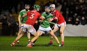 11 January 2020; David Reidy of Limerick, supported by team-mate Graeme Mulcahy, left, in action against Eoin Cadogan, 3, and Chris O'Leary of Cork during the Co-Op Superstores Munster Hurling League Final match between Limerick and Cork at LIT Gaelic Grounds in Limerick. Photo by Piaras Ó Mídheach/Sportsfile