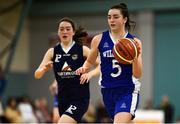 12 January 2020; Kate Hickey of Waterford Wildcats in action against Mai Perkins of DCU Mercy during the Hula Hoops U18 Women's National Cup Semi-Final between Waterford Wildcats and DCU Mercy at Parochial Hall in Cork. Photo by Sam Barnes/Sportsfile