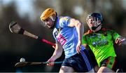 12 January 2020; Diarmuid O'Flionn of UCD in action against Niall Brassil of IT Carlow during the Fitzgibbon Cup Round 1 match between UCD and IT Carlow at UCD Billings Park in Belfield, Dublin. Photo by Ben McShane/Sportsfile